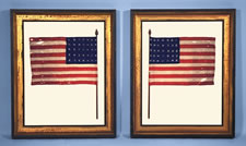 "PAIR OF HAND-SEWN, HOMEMADE, WOOL PARADE FLAGS WITH 35 STARS, 1863-1865, CIVIL WAR PERIOD, FORMERLY IN THE COLLECTION OF DEAN JOHNSON AND JIMMY KRAMER, ILLUSTRATED IN ""SEASONS AT SEVEN GATES FARM"""