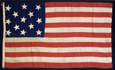 13 STARS, CIVIL WAR PERIOD (1861-65) ENTIRELY HAND-SEWN, U.S. NAVY SMALL BOAT ENSIGN