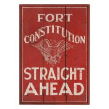"""FORT CONSTITUTION"" (NEW HAMPSHIRE): PAINTED SIGN BOARD WITH GREAT GOLOR, GRAPHICS THAT INCLUDE AN ELEGANT SPREAD-WINGED EAGLE, AND EXCELLENT CRAQUELURE SURFACE, 1920-40"