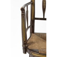 LADY'S ARROW-BACK ARM CHAIR WITH GAME BIRD DECORATION ON THE CREST RAIL AND ELEGANT CONSTRUCTION, PROBABLY NEW YORK STATE, CA 1840