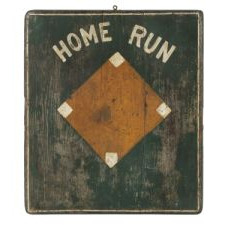 UNUSUAL, HOMEMADE, PAINTED WOODEN GAMEBOARD WITH A BASEBALL DIAMOND, ca 1876-1925: