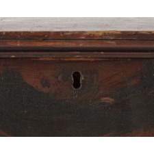 PAINT-DECORATED 6-BOARD BLANKET CHEST WITH AN ADIRONDACK SENSIBILITY, ON BOOTJACK FEET, POSSIBLY NEW YORK STATE, CA 1810-1840