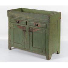 PENNSYLVANIA DRY SINK WITH 2 SHALLOW DRAWERS OVER 2 DOORS AND WITH OUTSTANDING GREEN-PAINTED SURFACE, ca 1840-50
