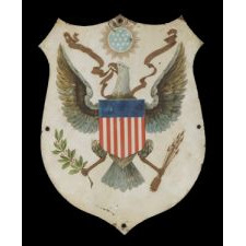 PATRIOTIC PAINTING ON COPPER WITH THE PRIMARY ELEMENTS OF THE GREAT SEAL OF THE UNITED STATES, ca 1840-70: