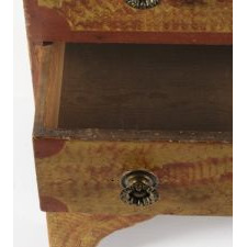 PAINT-DECORATED BLANKET CHEST ON HIGH SCALLOPPED FEET WITH RED SPONGING AND TRIM ON A YELLOW GROUND, FOUND IN VESTAL, NEW YORK, CA 1820