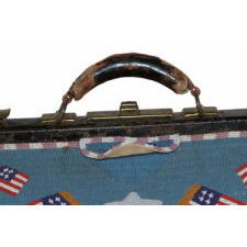 MONUMENTAL BEADED NATIVE AMERICAN DOCTOR'S BAG WITH FLAGS AND EAGLES, OF EXTRAORDINARY SIZE, BEADED ALL THE WAY AROUND AND ON THE UNDERSIDE, LOUISIANA ORIGIN