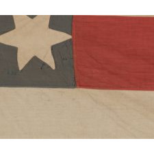 "A MASTERPIECE AMONG KNOWN EXAMPLES: AMAZINGLY GRAPHIC FLAG WITH 37 SIX-POINTED STARS IN A SPECTACULAR DOUBLE-WREATH STYLE MEDALLION, POSSIBLY WITH A PRO-UNION MESSAGE, INSCRIBED WITH THE INTIALS ""A.P."" AND THE NAME ""PURSEL"""