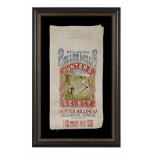 WWI BELGIAN HUNGER RELIEF FLOUR SACK FROM KANSAS, EMBROIDERED BY BELGIAN WOMEN AND SENT BACK TO THE STATE IN THANKS, 1915-19