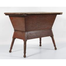 SOUTHERN DOUGH TABLE ON TURNED FEET IN SALMON RED PAINT, 1840-60