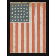 """34 STARS IN A LINEAL CONFIGURATION OF """"GLOBAL ROWS"""" AND WITH SCATTERED STAR POSITIONING, ON A FLAG MADE DURING THE OPENING TWO YEARS OF THE CIVIL WAR, 1861-63, KANSAS STATEHOOD"""