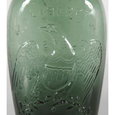 """LIBERTY"" EAGLE FLASK IN BRIGHT BLUE GREEN, WILLINGTON GLASS WORKS, WILLINGTON, CONNECTICUT, 1860-1873"