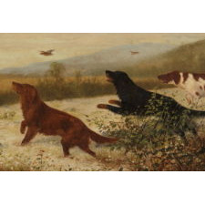"UPLAND BIRD HUNTING SCENE WITH TWO SETTERS AND A POINTER, ENTITLED ""TOO FAST"" BY N. H. TROTTER (1827-1898), PHILADELPHIA, OIL ON CANVAS, SIGNED AND DATED 1888"