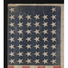 "44 STARS IN AN UNUSUAL ""NOTCHED"" PATTERN, WYOMING STATEHOOD, 1890-1896"