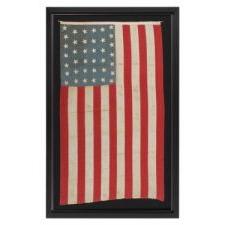 38 STARS ON A HOMEMADE FLAG WITH A CORNFLOWER BLUE CANTON, COLORADO STATEHOOD, 1876-1889