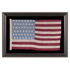 45 HAND-EMBROIDERED STARS WITH WONDERFUL, FLOWER-LIKE PROFILES ON A HOMEMADE SILK FLAG WITH A CORNFLOWER BLUE CANTON AND BURGUNDY RED STRIPES, A MAGIFICENT EXAMPLE OF THE 1896-1908 PERIOD, SPANISH-AMERICAN WAR ERA, UTAH STATEHOOD