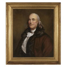 OIL ON CANVAS PORTRAIT OF BENJAMIN FRANKLIN AFTER DUPLESSIS, CA 1800-1830, IN A FANTASTIC GILDED AMERICAN FRAME OF THE SAME PERIOD OR PRIOR