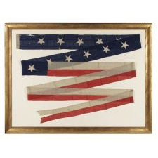 THIRTY-FOUR-FOOT U.S. NAVY COMMISSIONING PENNANT WITH 13 STARS, CIVIL WAR PERIOD (1861-65), ENTIRELY HAND SEWN