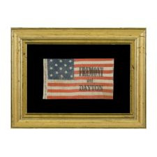 RARE, DIMINUTIVE, CAMPAIGN PARADE FLAG WITH 13 STARS, MADE IN 1856 FOR JOHN FRÉMONT & WILLIAM DAYTON, ONE-OF-A-KIND AMONG KNOWN EXAMPLES. FRÉMONT OPENED THE GATEWAY TO CALIFORNIA STATEHOOD AND WAS THE REPUBLICAN PARTY'S FIRST PRESIDENTIAL CANDIDATE