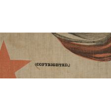 PATRIOTIC BANNER MADE FOR THE 1876 CENTENNIAL INTERNATIONAL EXPOSITION IN PHILADELPHIA,WITH AN EAGLE CARRYING THE LIBERTY BELL, SURROUNDED BY 13 STARS, FLANKED BY PATRIOTIC PHRASES, WITH A BORDER OF 38 STARS