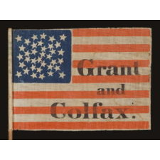 "36 STARS, ARRANGED IN AN ODD AND WHIMSICAL PRESENTATION OF THE ""GREAT-STAR-IN-A-WREATH"" DESIGN, MADE FOR THE 1868 PRESIDENTIAL CAMPAIGN OF ULYSSES S. GRANT & SCHUYLER COLFAX"