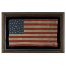 35 STARS, PROBABLY A CIVIL WAR CAMP COLORS, WEST VIRGINIA STATEHOOD, 1863-1865, ONE OF A TINY HANDFUL OF PRESS-DYED WOOL FLAGS WITH A RANDOM CONFIGURATION OF STARS