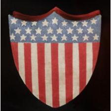 SHIELD-SHAPED PATRIOTIC BOX, SILK & PAPER, 1898-1926