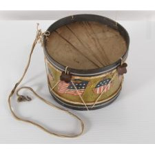 "PATRIOTIC TOY DRUM WITH OVAL SHIELDS AND AMERICAN FLAGS, SIGNED ""CONVERSE,"" WINCHENDON, MASSACHUSETTS, CA 1890-1900"