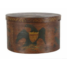 LARGE BAND OR PANTRY BOX WITH HAND-PAINTED FEDERAL EAGLE, CA 1810-1830