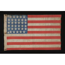 "CIVIL WAR ERA PARADE FLAG WITH 36 STARS IN A VERY RARE FORM THAT DISPLAYS A ""U"" FOR UNION"