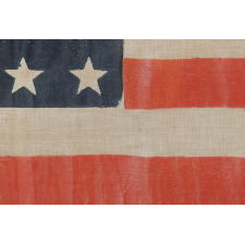 36 STAR ANTIQUE AMERICAN PARADE FLAG OF THE CIVIL WAR ERA, IN AN ESPECIALLY LARGE SCALE AND WITH BOLD COLOR, 1864-67, NEVADA STATEHOOD: