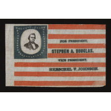 PORTRAIT STYLE PARADE FLAG MADE FOR THE 1860 CAMPAIGN OF NORTHERN DEMOCRATS STEPHEN DOUGLAS & HERSCHEL JOHNSON, WITH A RARE AND BEAUTIFUL SHIELD-SHAPED MEDALLION OF 44 STARS