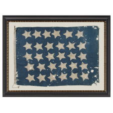 U.S. NAVY JACK WITH 30 STARS, AN ENTIRELY HAND-SEWN, PRE-CIVIL WAR EXAMPLE WITH GREAT COLOR AND BOLD VISUAL QUALITIES, WISCONSIN STATEHOOD, 1848-1850