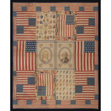 EXCEPTIONAL 1876 QUILT FEATURING THE IMAGES OF GEORGE & MARTHA WASHINGTON, MADE FROM PATRIOTIC TEXTILES AND FLAGS THAT WERE PROBABLY ACQUIRED IN PHILADELPHIA AT THE CENTENNIAL INTERNATIONAL EXHIBITION