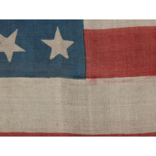 "34 STARS, PRINTED ON SILK, WITH ""DANCING"" OR ""TUMBLING"" ORIENTATION, CIVIL WAR PERIOD, KANSAS STATEHOOD, 1861-1863"
