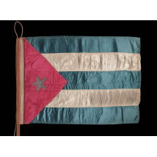 CUBAN FLAG, A BEAUTIFUL SATIN EXAMPLE ON ITS ORIGINAL SQUARE WOODEN STAFF, MADE CA 1890'S-1915