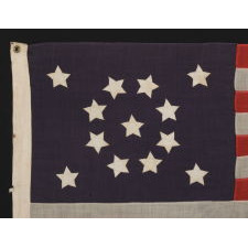 13 STARS WITH SHORT, CONICAL ARMS, ARRANGED IN A MEDALLION CONFIGURATION ON A SMALL SCALE FLAG MADE DURING THE LAST DECADE OF THE 19TH CENTURY, POSSIBLY OF PHILADELPHIA ORIGIN
