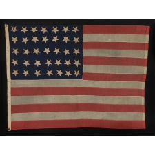 "35 STARS, ENTIRELY HAND-SEWN AND WITH ATTRACTIVE EARLY FEATURES, CIVIL WAR PERIOD, WEST VIRGINIA STATEHOOD, 1863-1865, SIGNED ""J.W. BRADLEY"""