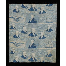 RARE AND EARLY YARD GOODS TEXTILE, MADE FOR THE 1829 INAUGRATION OF ANDREW JACKSON