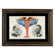 WILLIAM McKINLEY & THEODORE ROOSEVELT POLITICAL CAMPAIGN POSTER, MADE IN CHICAGO, 1900
