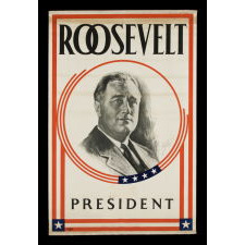 PORTRAIT STYLE BANNER MADE FOR THE 1932 PRESIDENTIAL CAMPAIGN OF FRANKLIN DELANO ROOSEVELT
