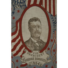 JUGATE PORTRAIT KERCHIEF, MADE FOR THE 1904 PRESIDENTIAL CAMPAIGN OF THEODORE ROOSEVELT & CHARLES WARREN FAIRBANKS