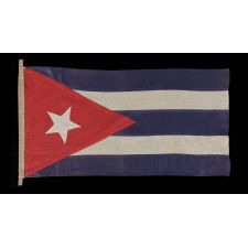 CUBAN FLAG WITH AN ELONGATED TRIANGULAR CANTON AND ELONGATED PROPORTIONS, CA 1895-1920
