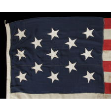 13 STARS IN A 3-2-3-2-3 LINEAL CONFIGURATION ON A LARGE SCALE FLAG MADE DURING THE LAST QUARTER OF THE 19TH CENTURY