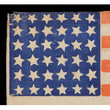 RARE 36 STAR PARADE FLAG, MADE FOR THE 1880 PRESIDENTIAL CAMPAIGN OF GARFIELD AND ARTHUR