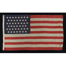 45 STARS ON A SMALL SCALE FLAG OF THE PERIOD AMONG THOSE WITH PIECED-AND-SEWN CONSTRUCTION, 1896-1907, SPANISH-AMERICAN WAR ERA, UTAH STATEHOOD