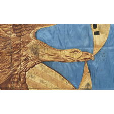 "CIVIL WAR REGIMENTAL FLAG WITH A DRAMATIC WARTIME EAGLE AND PATRIOTIC TEXT THAT READS: ""UNITED WE STAND, DIVIDED WE FALL,"" HAND-GILDED AND PAINTED ON CORNFLOWER BLUE SILK, 1861-65"