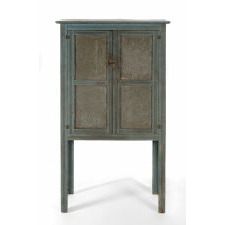 NARROW BLUE PAINTED PIE SAFE ON TALL LEGS, PROBABLY UPSTATE NEW YORK OR PENNSYLVANIA, ca 1870-1880's