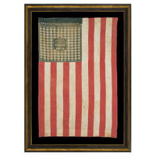 """THE HARRISON & MORTON BANDANNA FLAG FROM THE MASTAI COLLECTION, PROMINENTLY FEATURED IN BOTH THEIR BOOK ON FLAG COLLECTING AND THE BOOK """"THREADS OF HISTORY"""" BY THE SMITHSONIAN, CA 1888"""