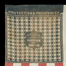"THE HARRISON & MORTON BANDANNA FLAG FROM THE MASTAI COLLECTION, PROMINENTLY FEATURED IN BOTH THEIR BOOK ON FLAG COLLECTING AND THE BOOK ""THREADS OF HISTORY"" BY THE SMITHSONIAN, CA 1888"