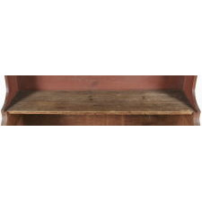 EXTREMELY UNUSUAL, HIGH-BACK BUCKET BENCH WITH SCALLOPED, STEP-BACK FORM, STYLISTICALLY SIMILAR TO A SETTLE BENCH, IN EXCEPTIONAL SALMON RED PAINT, CA 1830-50